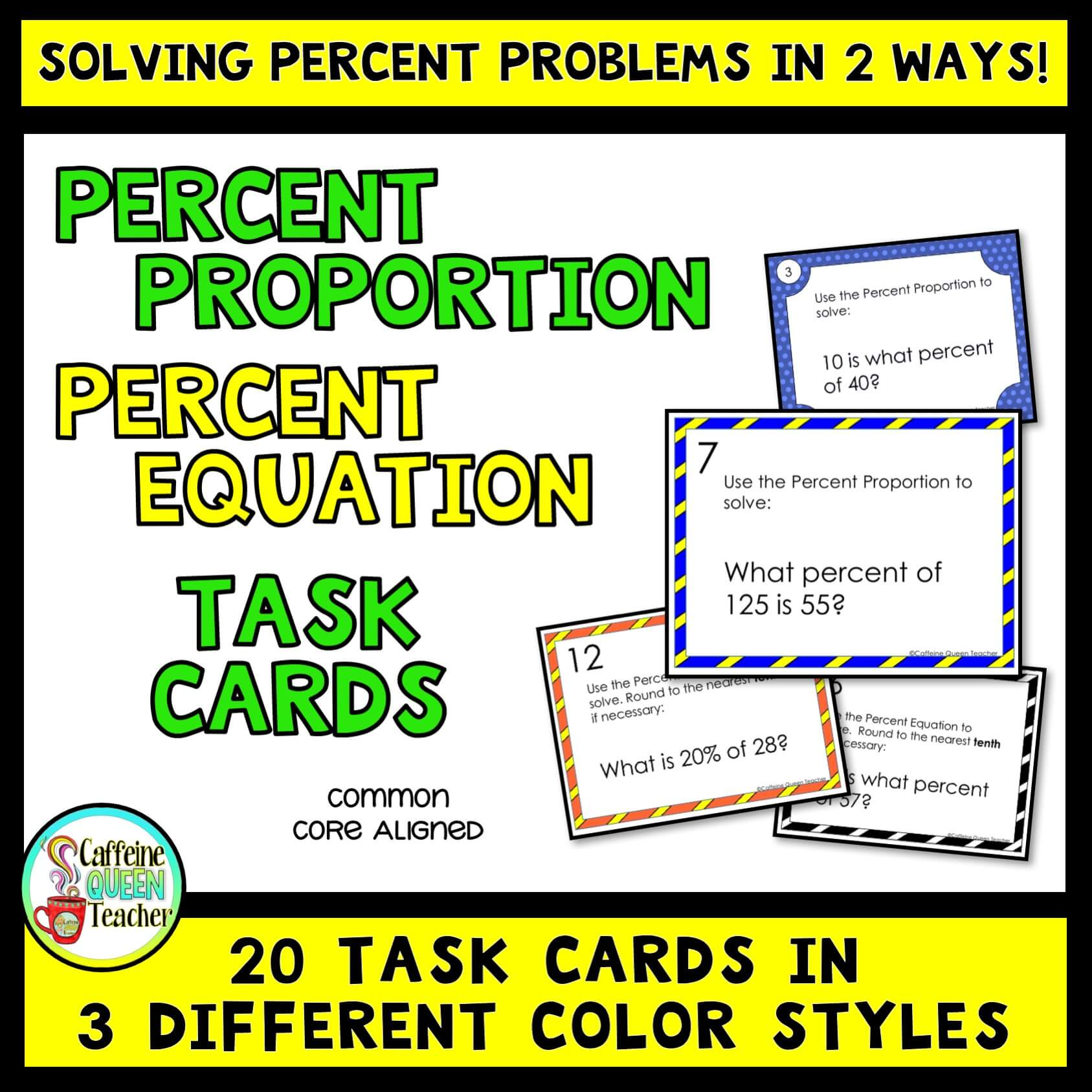 Study percent proportion and percent equation with these effective task cards