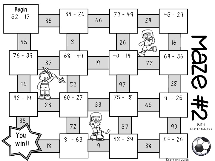 Solve the subtraction problems and make your way through the maze!