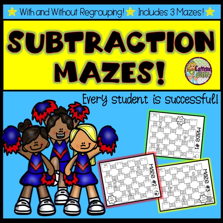Set of 3 subtraction mazes - students solve problems and succeed!