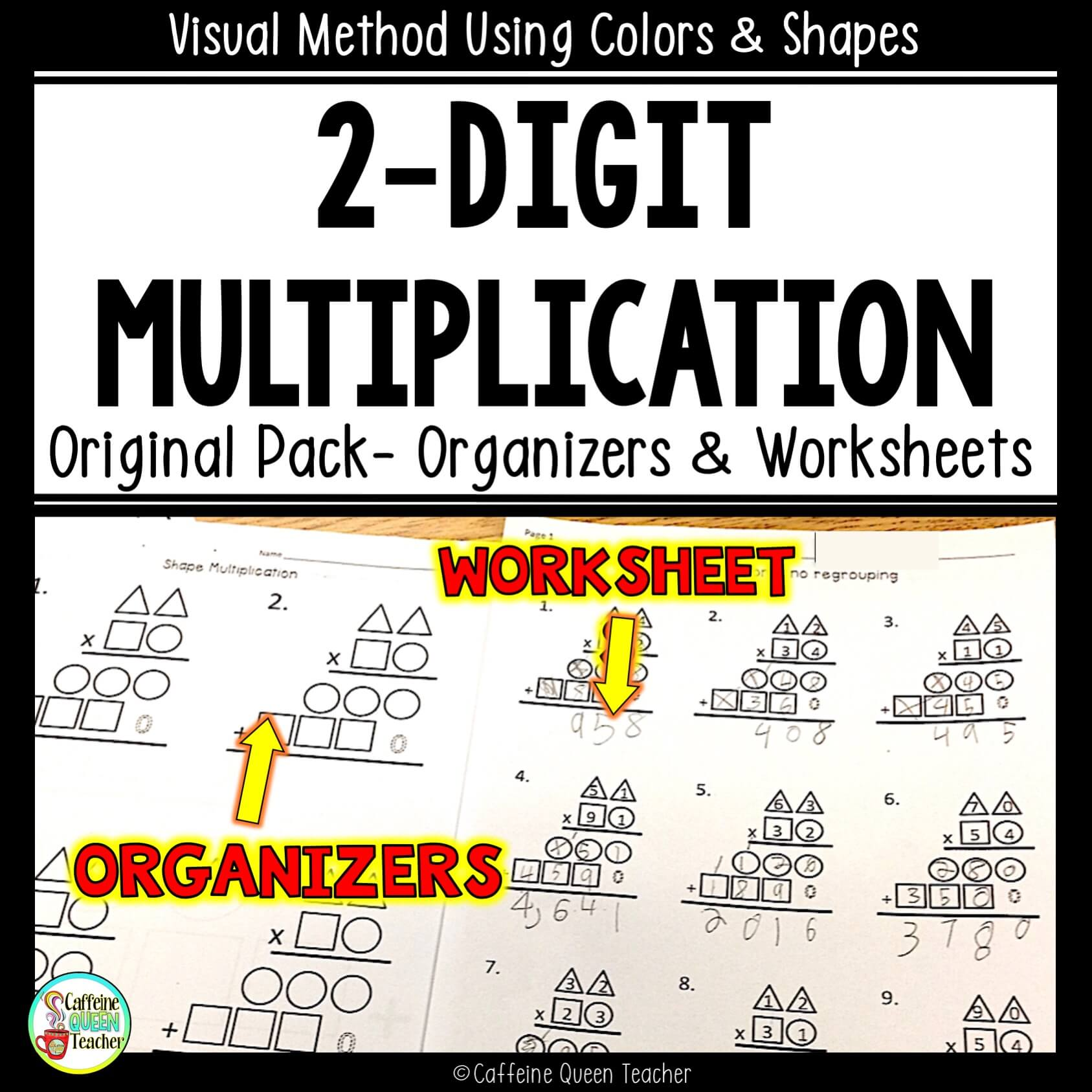 multi-digit multiplication worksheets and differentiated organizers for students