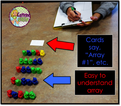 Students are moving through stations making arrays