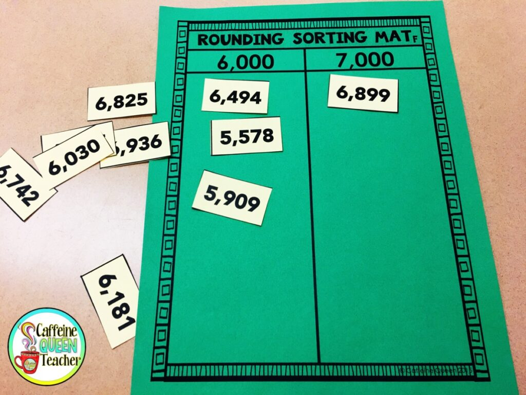 Sorting mat for rounding provides hands-on, interactive practice for students