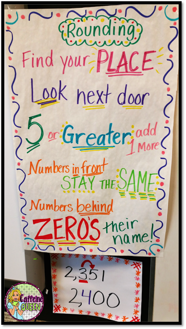 Rounding anchor chart for student reference in the classroom