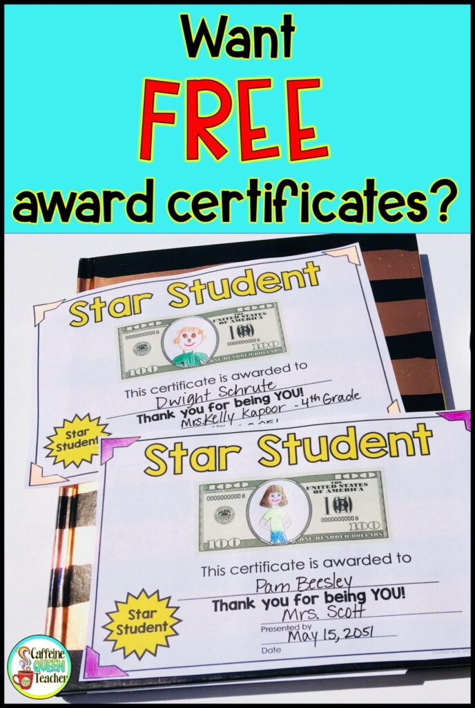 FREE end of the school year student award certificates to decorate