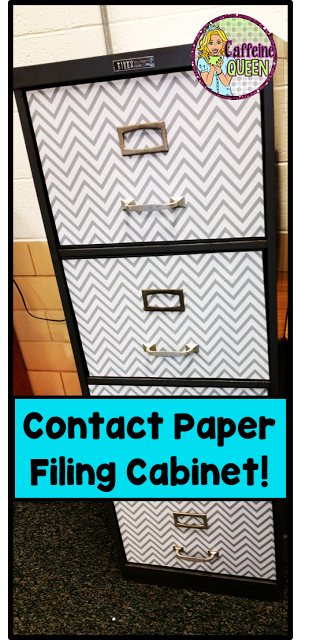 Contact paper improves the look of old filing cabinet