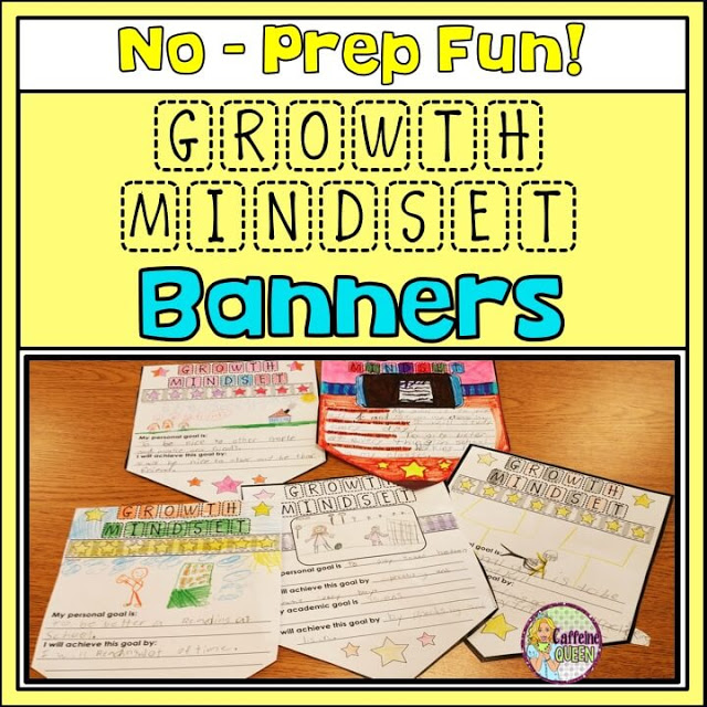 Growth mindset banners promote positive thinking and goal setting for students