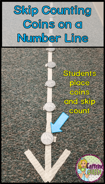 teaching money skills using a number line for skip counting