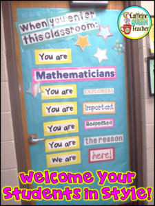 When you enter this classroom door decor for math classrooms