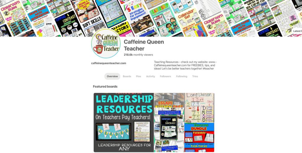 Caffeine Queen Teacher's Pinterest Pins - become a follower!