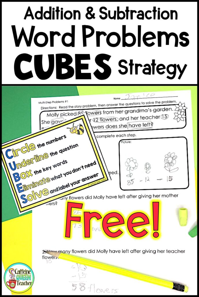 Addition and subtraction worksheets using CUBES strategy