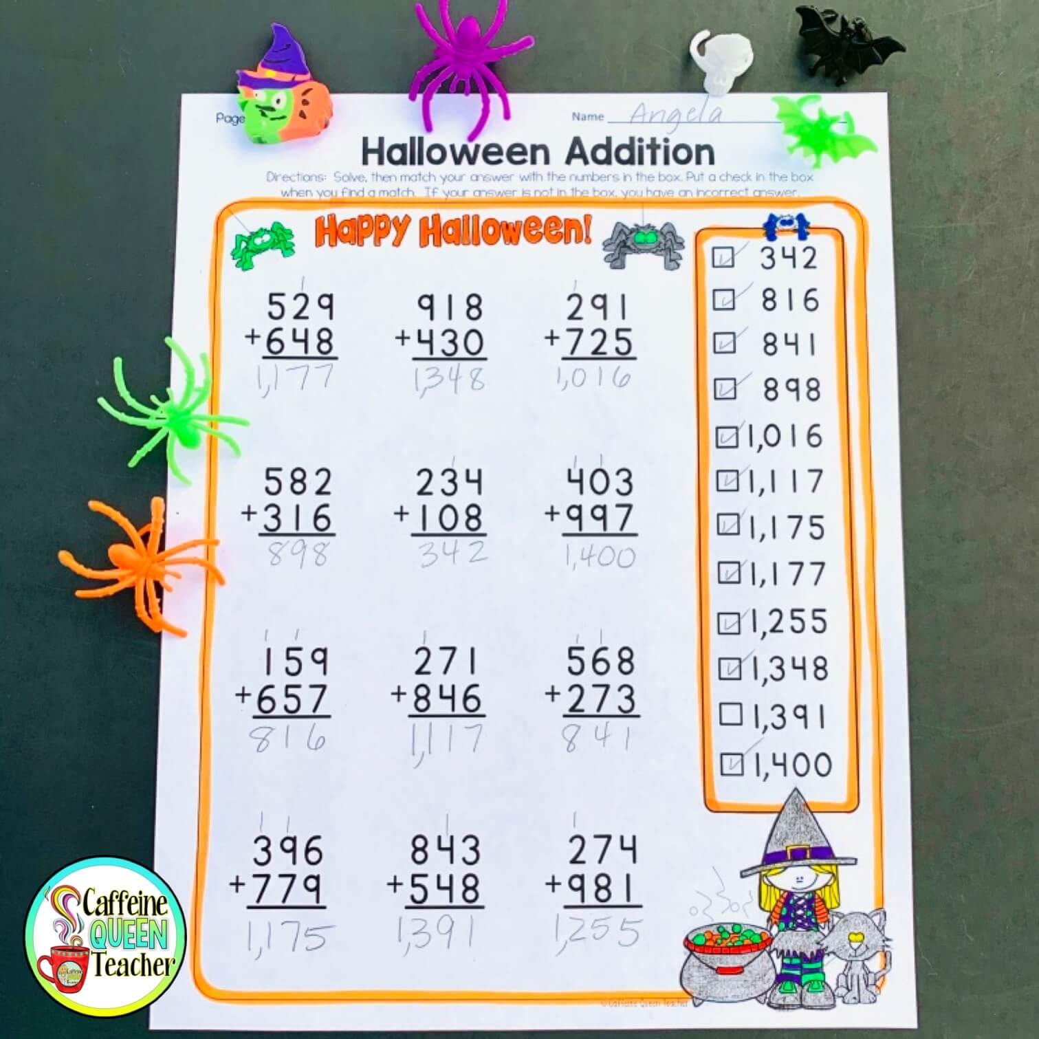 Halloween math addition, subtraction, and multiplication practice and review pages