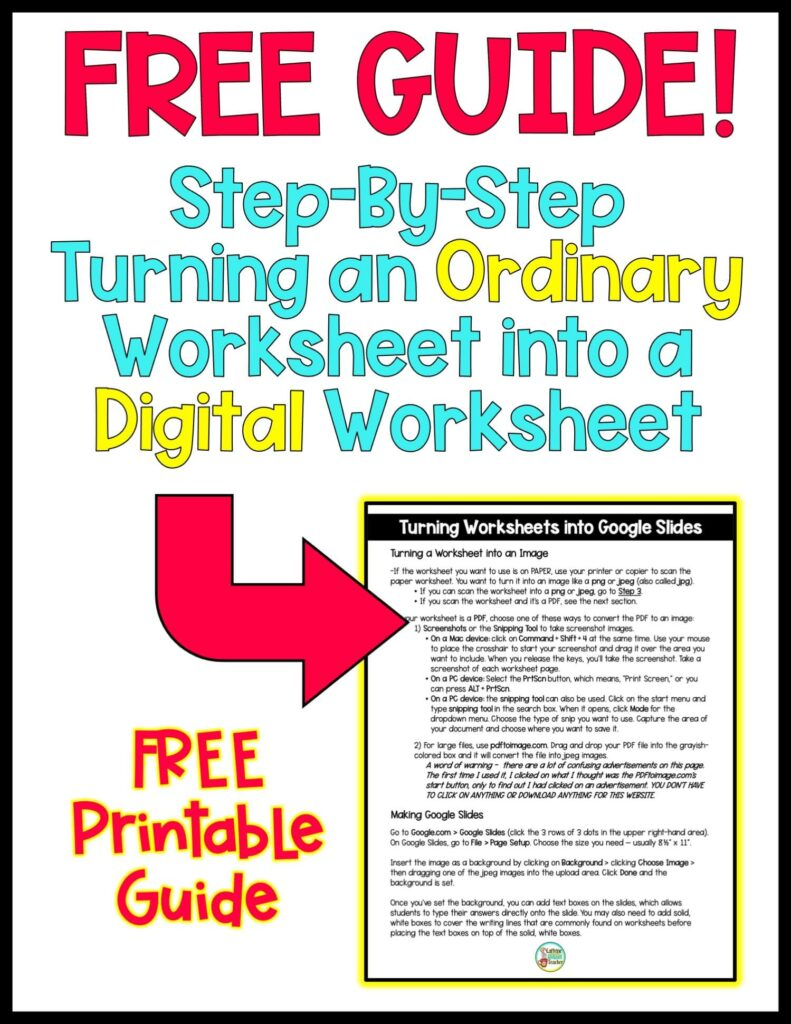 free guide to changing worksheets into digital