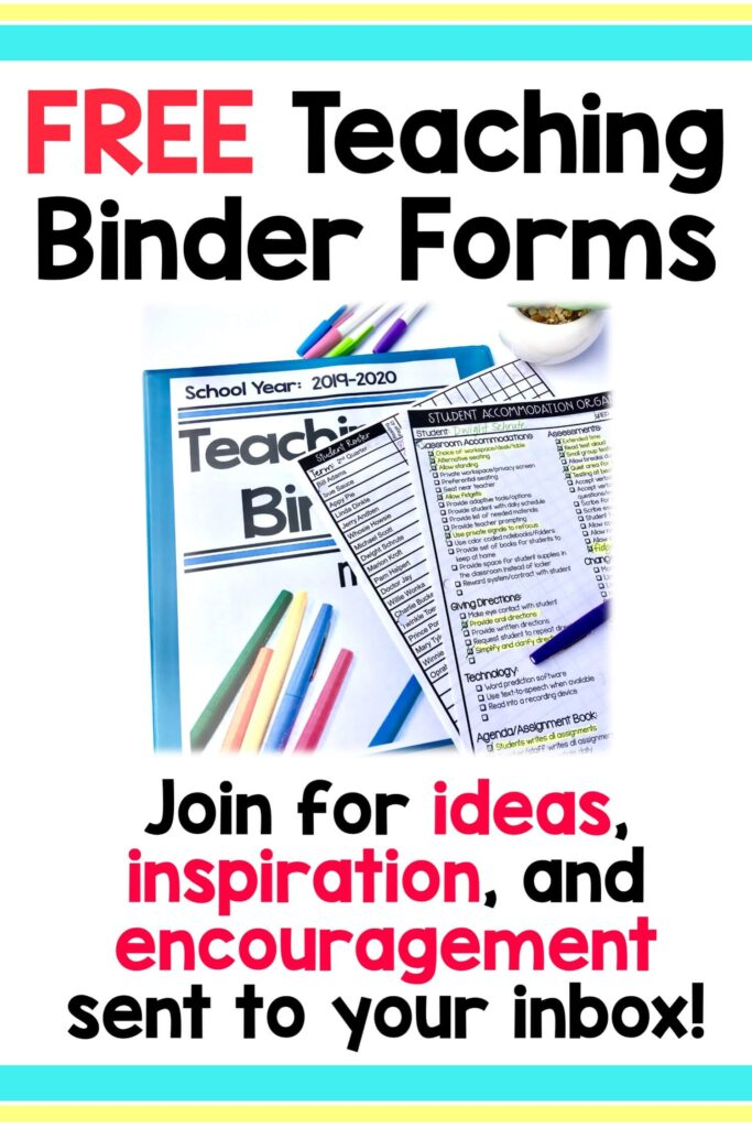 Click the image for Free Teaching Organization Pages Kit!