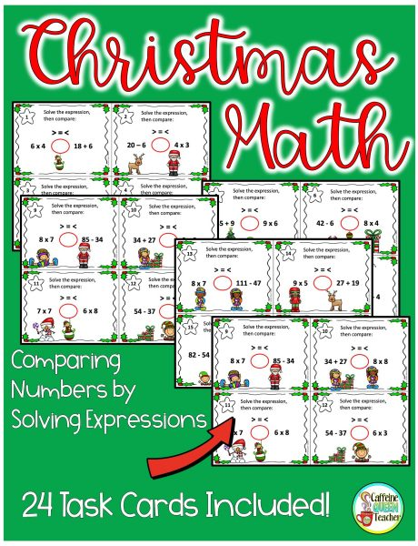Christmas Math Comparing Numbers by Solving Expressions