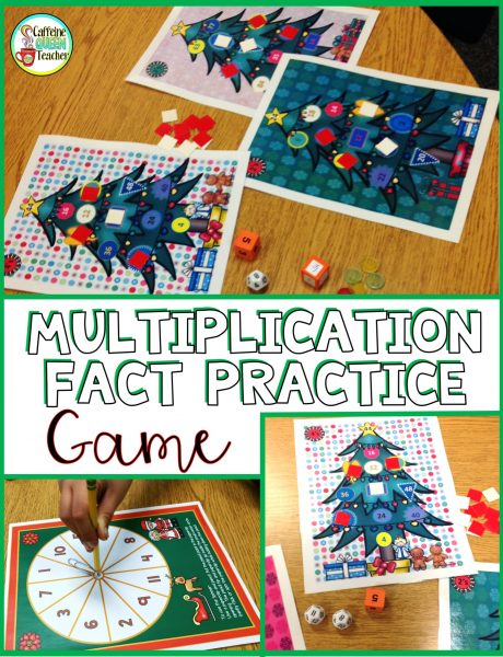 Christmas Multiplication Fact Practice Game for one or more players
